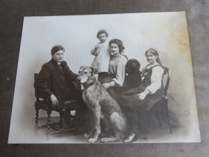 Laurence, Jean, Constance and Toni Rowntree with Hamlet the Great Dane